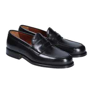 Black Leather Newport Penny Loafers