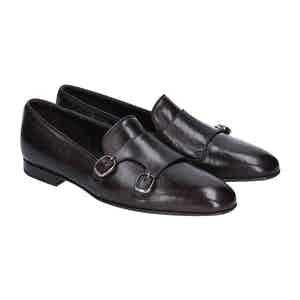 Brown Leather Double Monk Strap Loafers
