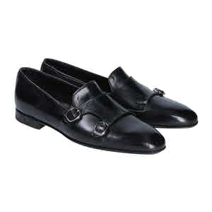Black Leather Double Monk Strap Loafers