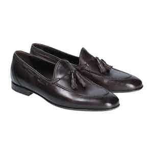 Brown Leather Milo Tassel Loafers