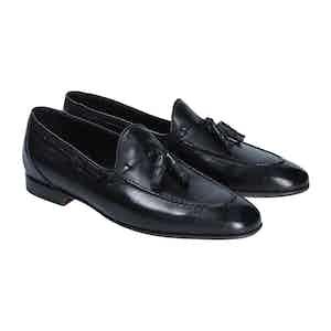 Black Leather Milo Tassel Loafers