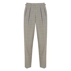 Grey Wool Blake Check Aleks Pleated Trousers
