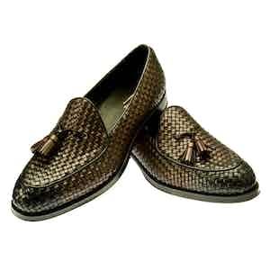 Brown Woven Leather Brando Tassel Slippers