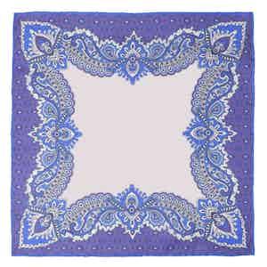 Cornflower Glicine Print Silk Pocket Square