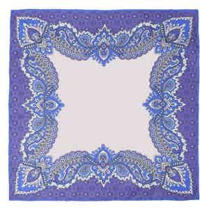 Cornflower Glicine Print Silk Pocket Square
