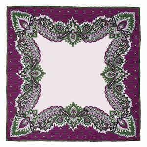Purple Bouganville Print Pocket Square