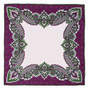 Purple Bouganville Print Pocket Square