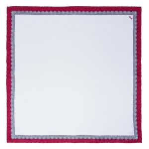 White and Red Essential Silk Pocket Square