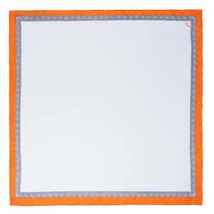 White and Orange Essential Silk Pocket Square