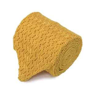 Yellow Pointelle-Knit Silk Tie
