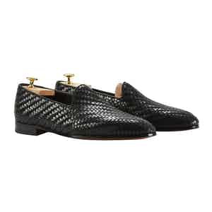 Black Woven Leather Rimbaud Loafers