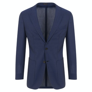 Navy Wool Ultra Lightweight Unlined Single-Breasted Jacket