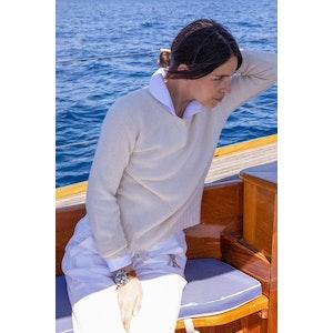 AK MC pure summer Cashmere  Off-White Ladies Crewneck Sweater