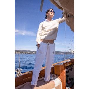 AK MC Ecru Cotton Fleece Embroidered Ladies Tennis Pants