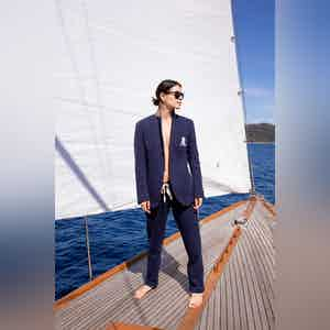 AK MC Navy Cotton Fleece Embroidered Ladies Tennis Pants