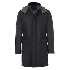 Grey Hooded Wool Raincoat