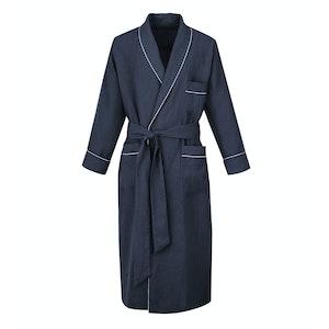 Navy Linen Dressing Gown