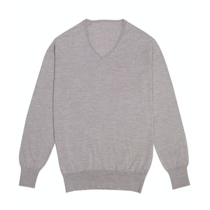 Beige Lightweight Merino Wool V-neck Sweater