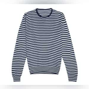 Blue and White Stripe Silk Long Sleeve T-Shirt