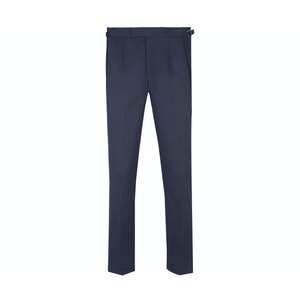 Navy Flat Front Cotton Trousers