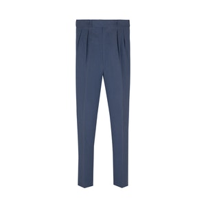 Navy Linen and Silk High Waisted Trousers