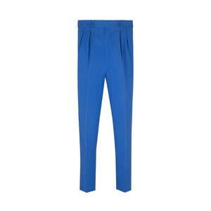 Blue Linen and Silk High Waisted Trousers