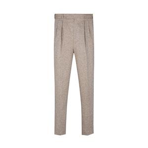 Sand Linen High Waisted Trousers