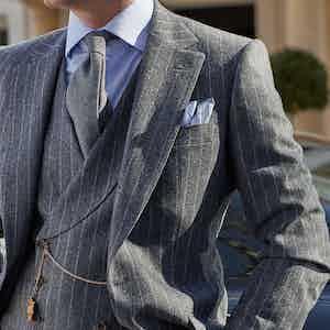 Light Grey Flannel Chalkstripe Jacket