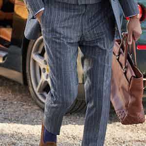 Light Grey Flannel Chalkstripe Trousers