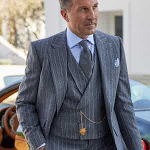 Light Grey Flannel Chalkstripe Waistcoat