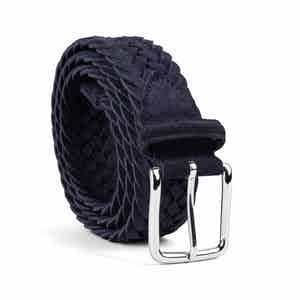 Deep Blue Braided Suede Belt Alfredo