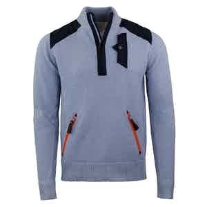 Powder Blue Alpine Guide Wool and Nylon Sweater