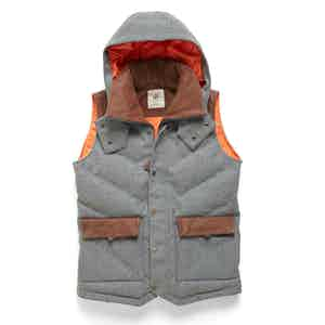 Grey Alpine Hooded Down-Filled Vest