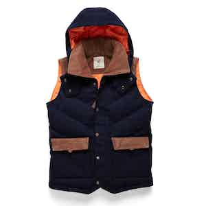 Navy Alpine Hooded Down-Filled Vest