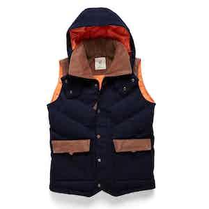 Navy Alpine Hooded Down-Filled Vest