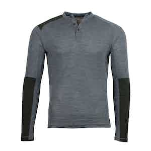 Grey Touring Henley Collar Merino T-Shirt