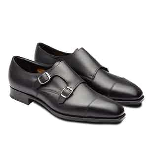 Black Westminster Leather Double Monk Straps