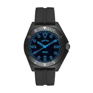 Black Steel Mayfair Watch With Neon Blue Accent