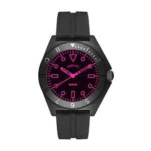 Black Steel Mayfair Watch With Neon Pink Accent