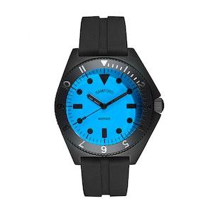 Black and Neon Blue Steel Mayfair Watch