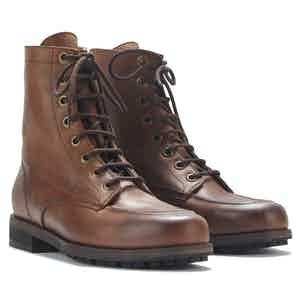 Brown Waxed Leather Work Boots with Rubber Sole