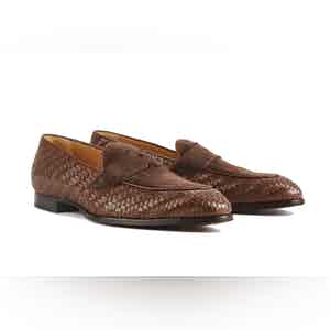 Brown Leather Schifano Penny Loafers