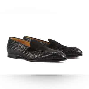 Black Leather Schifano Penny Loafers