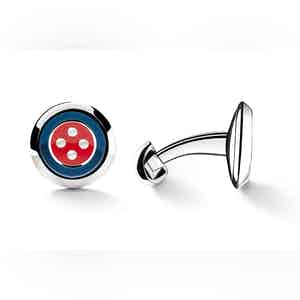 Blue and Red Sterling Silver Button Design Cufflinks