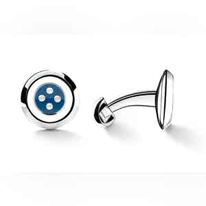 Blue and White Sterling Silver Button Design Cufflinks