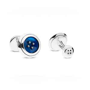 Royal Blue Sterling Silver and Mother of Pearl Cufflinks