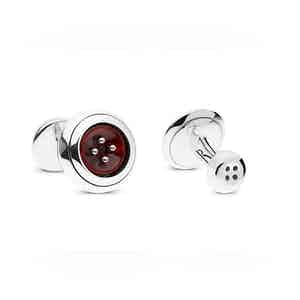 Pompeian Red Sterling Silver and Mother of Pearl Cufflinks