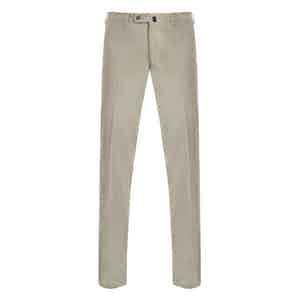 Beige Casual Fustian Cotton Trousers
