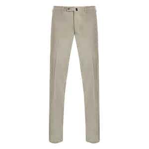 Beige Casual Fustian Cotton Trousers