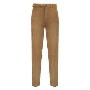Beige Corduroy Flat-Fronted Trousers
